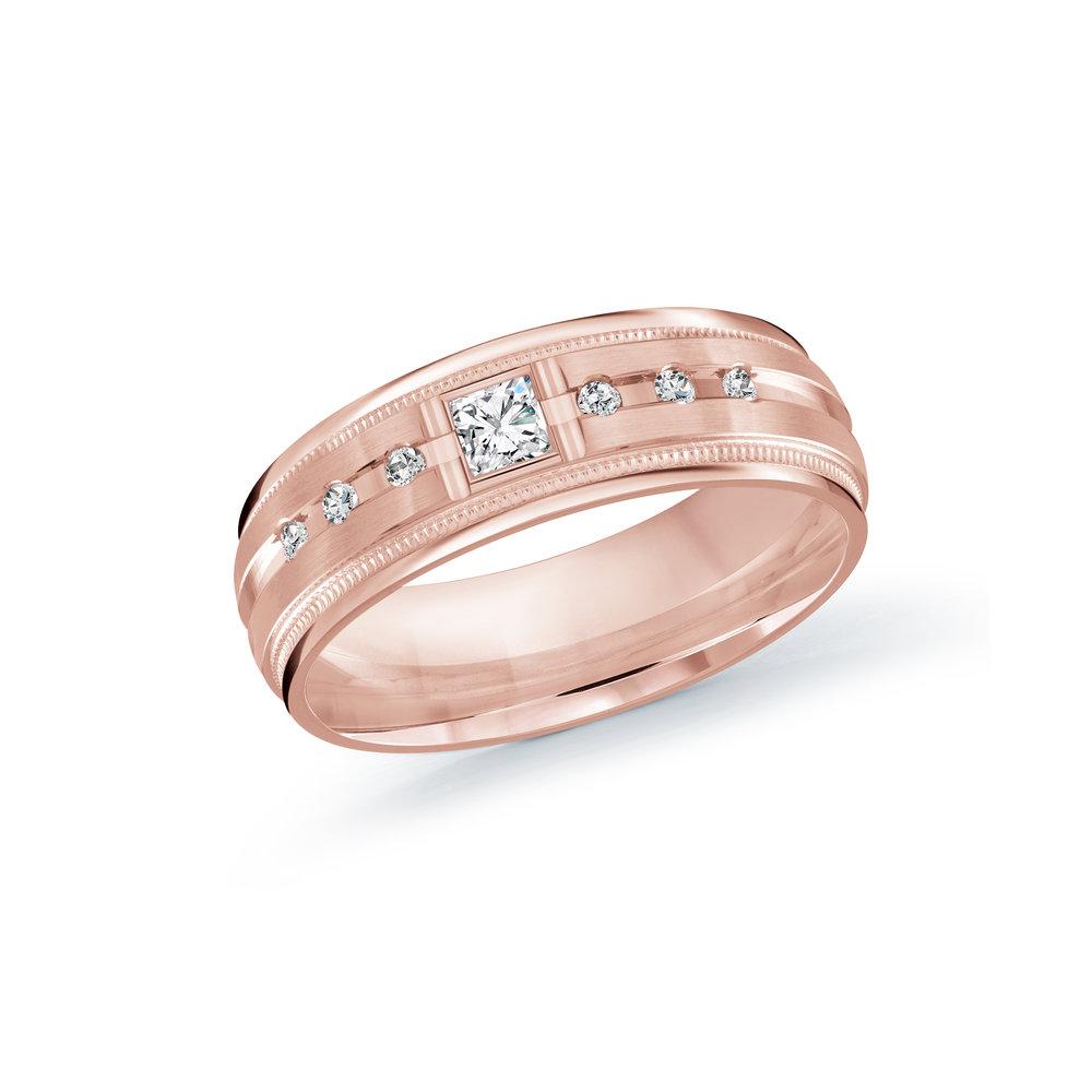 Pink Gold Men's Ring Size 7mm (JMD-503-7P20)
